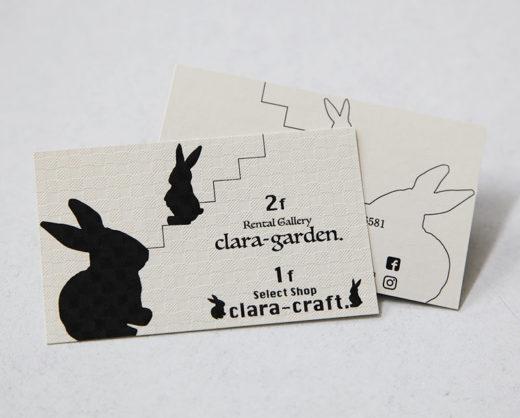 クララクラフト&クララガーデン様 ショップカード(2019.5月)
